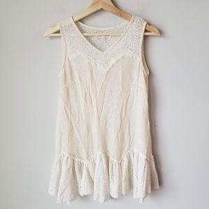A'reve Lace Tiered Tank Blouse Sweetheart Neckline